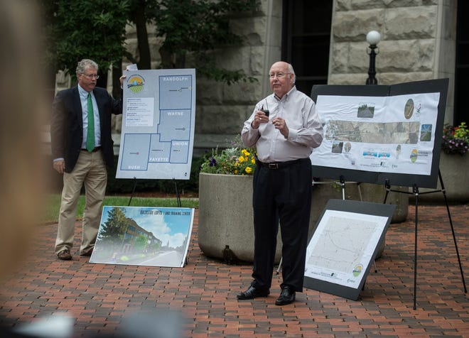 Wayne County Commissioner Ken Paust speaks during a media event announcing regional Stellar plans in front of the county courthouse on Tuesday, Aug. 21, 2018.