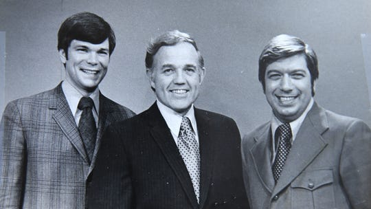 From left, Don Alhart with former Channel 13 colleagues Dick Burt and Ron DeFrance. Alhart began as a reporter at the station in 1965. Mr. DeFrance joined the staff two years later.