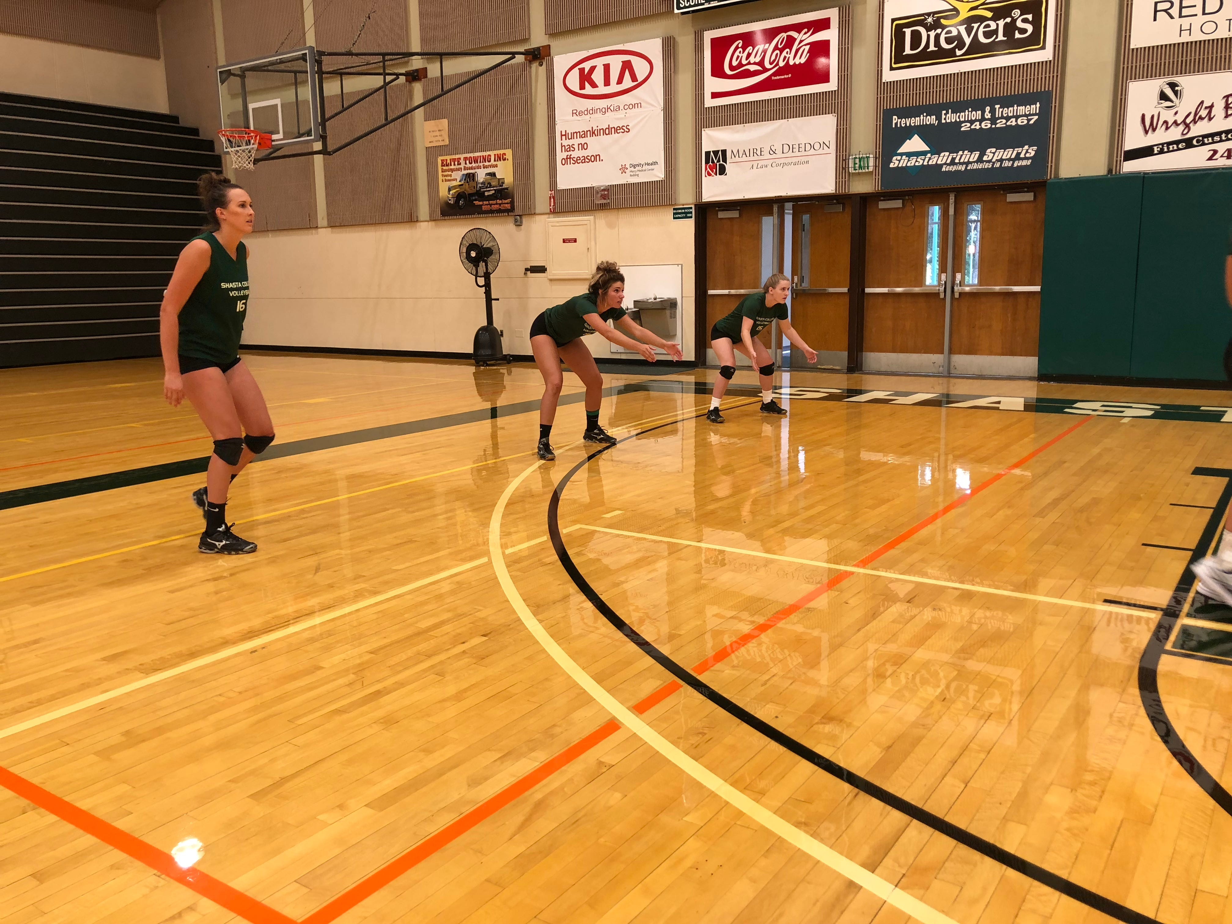 The Shasta College Knights volleyball team practices on Tuesday afternoon. The team's first regular season game is Friday when the Knights face Hartnell College at Santa Rosa Junior College.