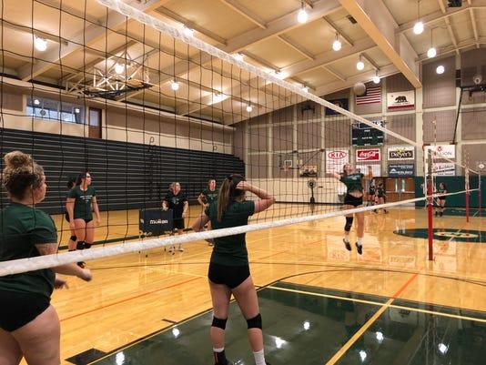 Shasta College volleyball team practice
