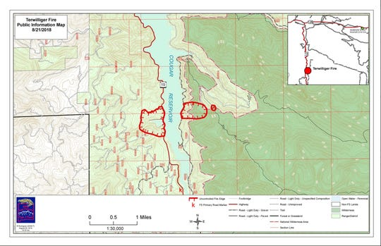 Map of the Terwilliger Fire as of Tuesday afternoon.