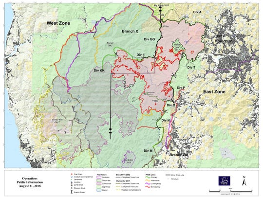 The fire map of the now mostly combined Taylor Creek and Klondike fires in Southern Oregon