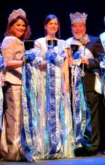 Krewe Gemini Queen XXX Karen Baker and King Benny Whaley bookend Captain Dr. Mary Ann Edens at the group's Royalty Coronation at Horseshoe Riverdome.