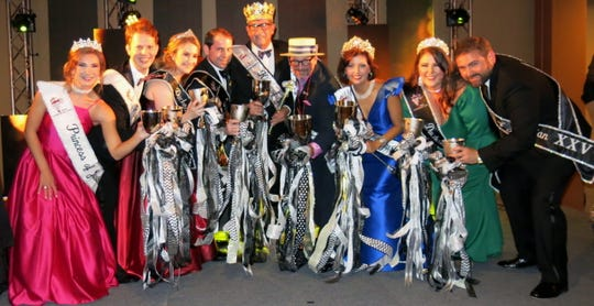 Krewe Justinian Court XXV introduced at the Royalty Coronation: Princess Peyton Lawrence, Prince Christian Hall, Duchess Liza Beth Grozinger, Duke Holland Miciotto, King Deryl Medlin, Captain Lyn Lawrence, Queen Lisa Clark, Duchess Rachel Wiggins Bays, Duke Chris Stahl.