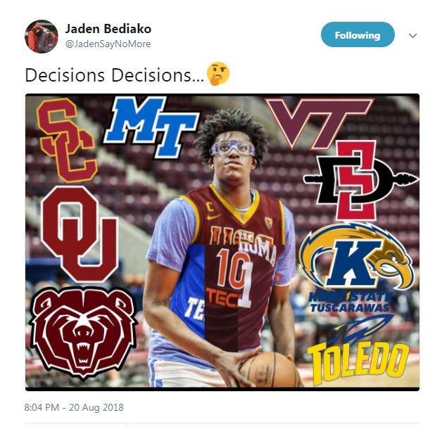 Screenshot of Jaden Bediako's tweet.