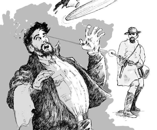Original artwork by former Staunton Leader employee Jim McCloskey, showing the fatal shooting of a Staunton waiter by Confederate Sgt. Henry Webster in late 1861. The waiter met his doom because he had run out of oysters.