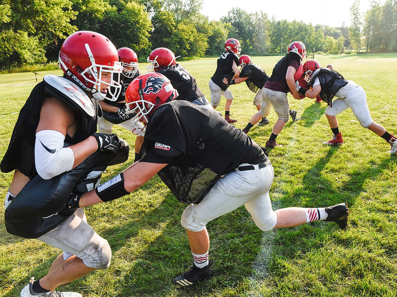 Milaca players work on backing during a drill Thursday, Aug. 16, in Milaca.