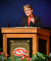 St. Cloud State University President Robbyn Wacker gives her first convocation address Tuesday, Aug. 21, to faculty and staff in Ritsche Auditorium.
