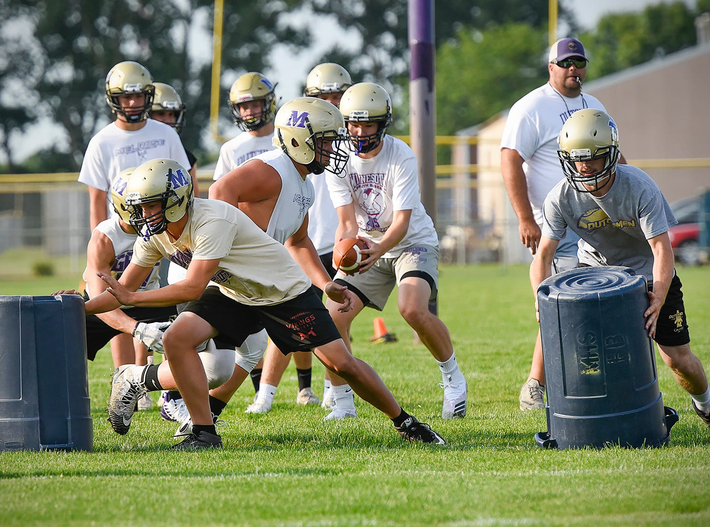 Melrose works on their offense Wednesday, Aug. 15, during practice.