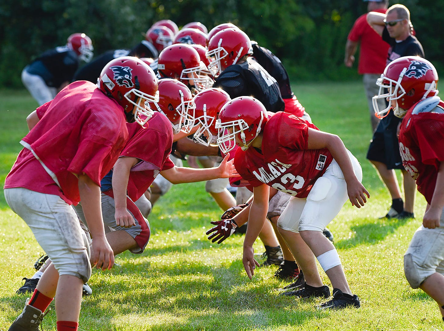 Milaca players work on their blocking assignments for a play during practice Thursday, Aug. 16, in Milaca.