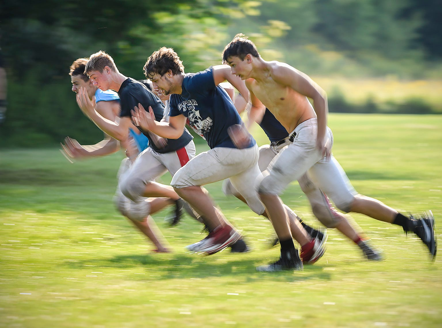 Milaca players run conditioning sprints during practice Thursday, Aug. 16, in Milaca.