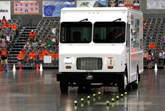 Drivers take to the course for the second day of competition at the 2018 National Truck Driving Championships & National Step Van Driving Championships at the Columbus Convention Center in Columbus, Ohio, August 17, 2018.