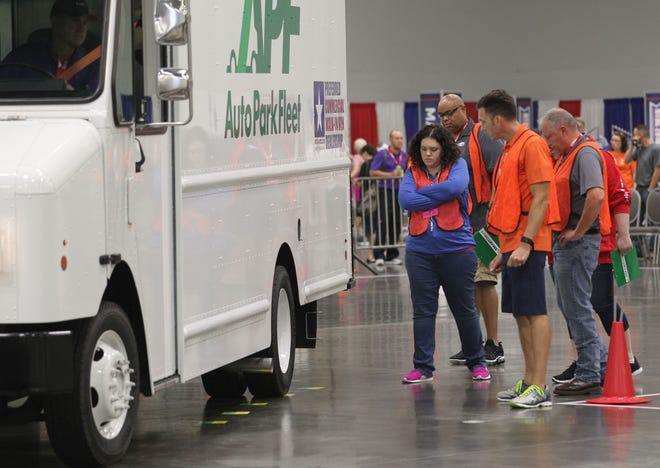 Drivers take to the course for the second day of competition at the 2018 National Truck Driving Championships & National Step Van Driving Championships at the Columbus Convention Center in Columbus, Ohio, August 17, 2018.   John Sommers II Sommers Photography 5423 Pawnee Trail Louisville, KY 40207 Cell-502-592-8523 www.sommersphoto.com jpsii@aol.com