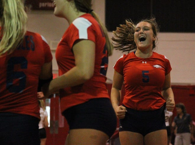 Wakulla's Melanie Oglesby reacts to scoring a point during Saturday's preseason volleyball classic at Leon.