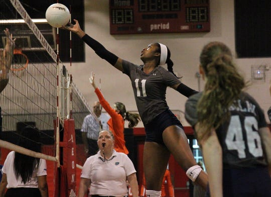 Maclay's Isabella Choice goes for a tip during Saturday's preseason volleyball classic at Leon.