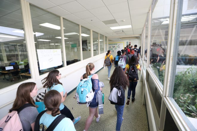 Students walk through the halls at Lincoln High School Tuesday, Aug. 21, 2018. Parents of students at Lincoln and other top performing Leon County Schools, have become more creative in an effort to enroll their children in a school they aren't zoned for.