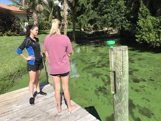 Juliet Ashley, left, and her daughter Taylor look Aug. 21, 2018, at the algae bloom behind their home on Southwest Bittern Street in Palm City.