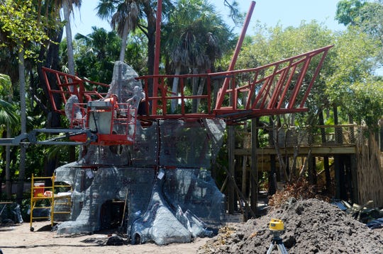 Construction of the Discovery Tree, complete with pirate ship and bamboo bridges suspended in air, in August at the Children's Garden at McKee Botanical Garden in Vero Beach.
