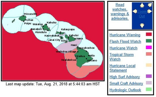 Watches in effect for approaching Hurricane Lane Aug. 21, 2018