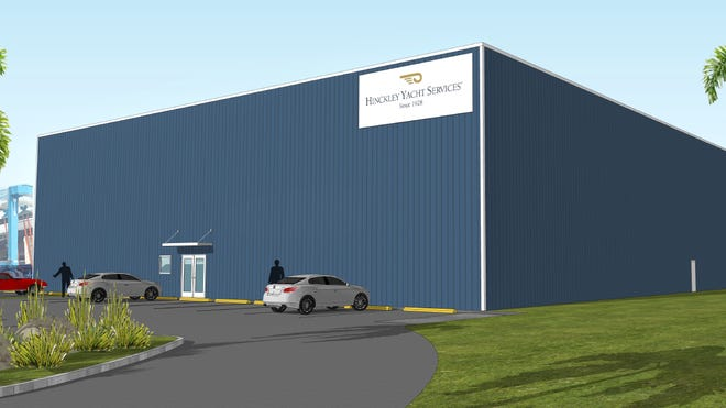 Hinckley Yacht Services new 40,000-square-foot storage building will be able to store more than 60 boats. This is a drawing of what the entrance of the building would look like.