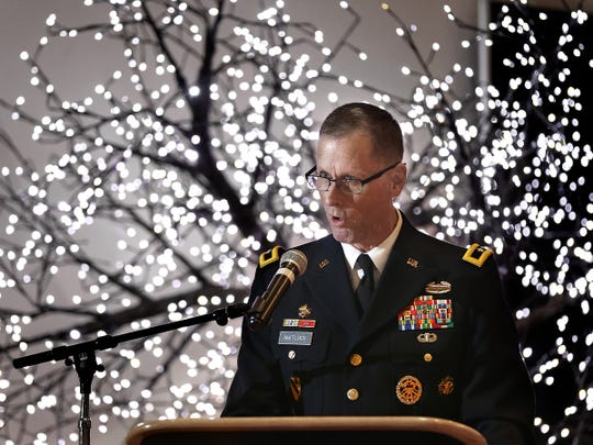 Fort Bliss Commander Maj. Gen. Patrick E. Matlock delivers his State of the Military Address Tuesday at the Centennial Club.