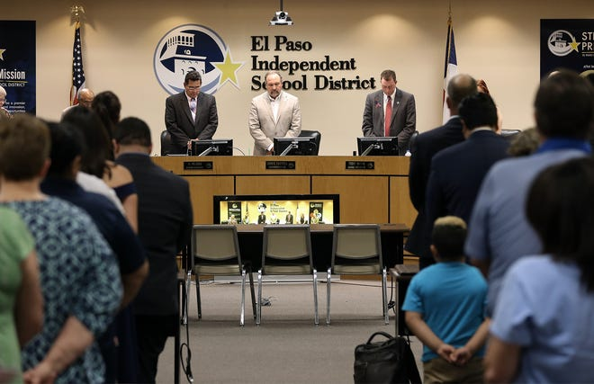 The EPISD board observes a moment of silence for Kharisma Ashlee James, 33, who was run over and killed while picking up her children at Tippin Elementary School. James was buried Aug. 20 at Fort Bliss National Cemetery.