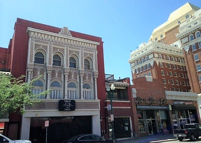 The Tricky Falls concert hall building, far left, at 209 S. El Paso St., in Downtown El Paso, has been sold to Abundant Living Faith Center, which plans to put a church in the historic building.