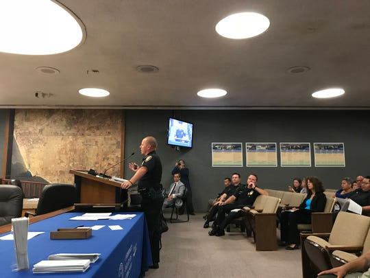 Assistant Police Chief Eric Sonstegard addresses the Oxnard Community Relations Commission during Monday night's meeting about the future of gang injunctions in the city.