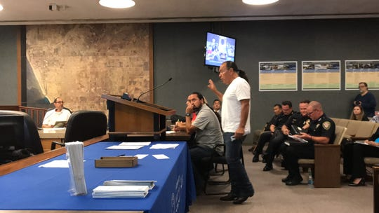 Community activist Armando Vazquez addresses the Oxnard Community Relations Commission at Monday's meeting to discuss the future of gang injunctions in the city.