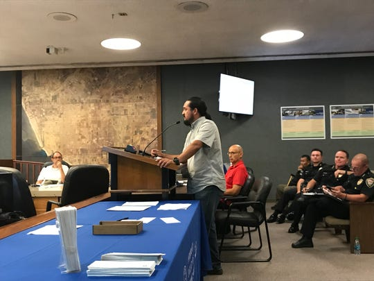 Community activist Francisco Romero addresses the Oxnard Community Relations Commission during Monday's meeting about the future of gang injunctions in the city.