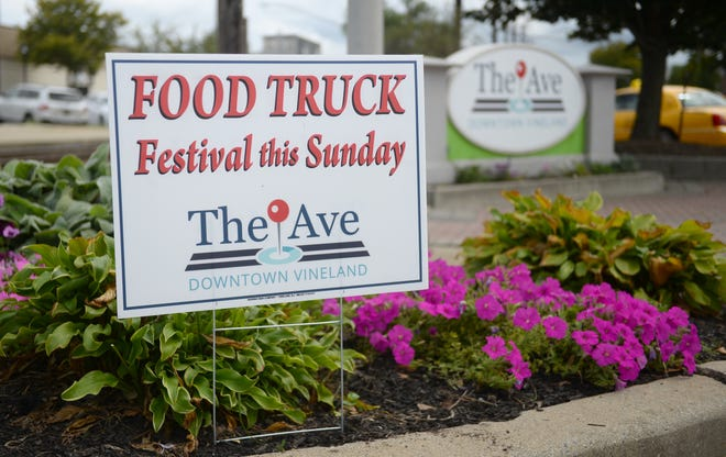 A Food Truck Festival sign on display in Vineland on Tuesday, August 21.
