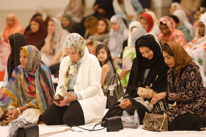 """The Upper Westchester Muslim Society celebrated Eid al-Adha, one of two high Islamic holidays observed each year, at the Crowne Plaza Hotel in White Plains on Aug. 21, 2018. The celebration is also known as the """"Festival of Sacrifice."""""""