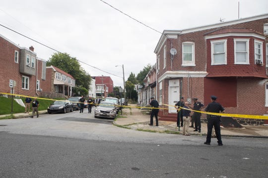 Wilmington Police investigate the scene of a shooting on the 100 block of Lamotte Street Tuesday afternoon.