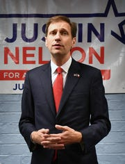 Democratic candidate for Texas Attorney General Justin Nelson speaks Tuesday morning at the Wichita County Democratic Headquarters.