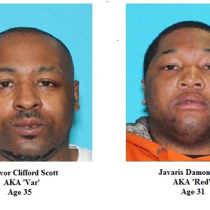 The FBI's Dallas Division, in a Monday press release, offered a up to a $5,000 reward for tips on the whereabouts of Trevor Clifford Scott, 35, and Javaris Damon Scott, 31.
