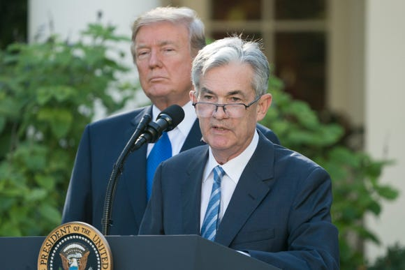 Jerome Powell, right, delivers remarks after President Donald Trump announced him as his nominee for Chair of the Board of Governors of the Federal Reserve System, in the Rose Garden of the White House in Washington, on Nov. 2, 2017.