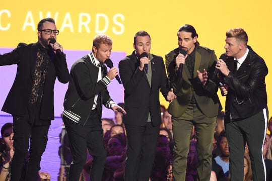 NEW YORK, NY - AUGUST 20:  (L-R) AJ McClean, Brian Littrell, Howie Dorough, Kevin Richardson and Nick Carter of the Backstreet Boys perform onstage during the 2018 MTV Video Music Awards at Radio City Music Hall on August 20, 2018 in New York City.  (Photo by Noam Galai/WireImage) ORG XMIT: 775211585 ORIG FILE ID: 1020372714