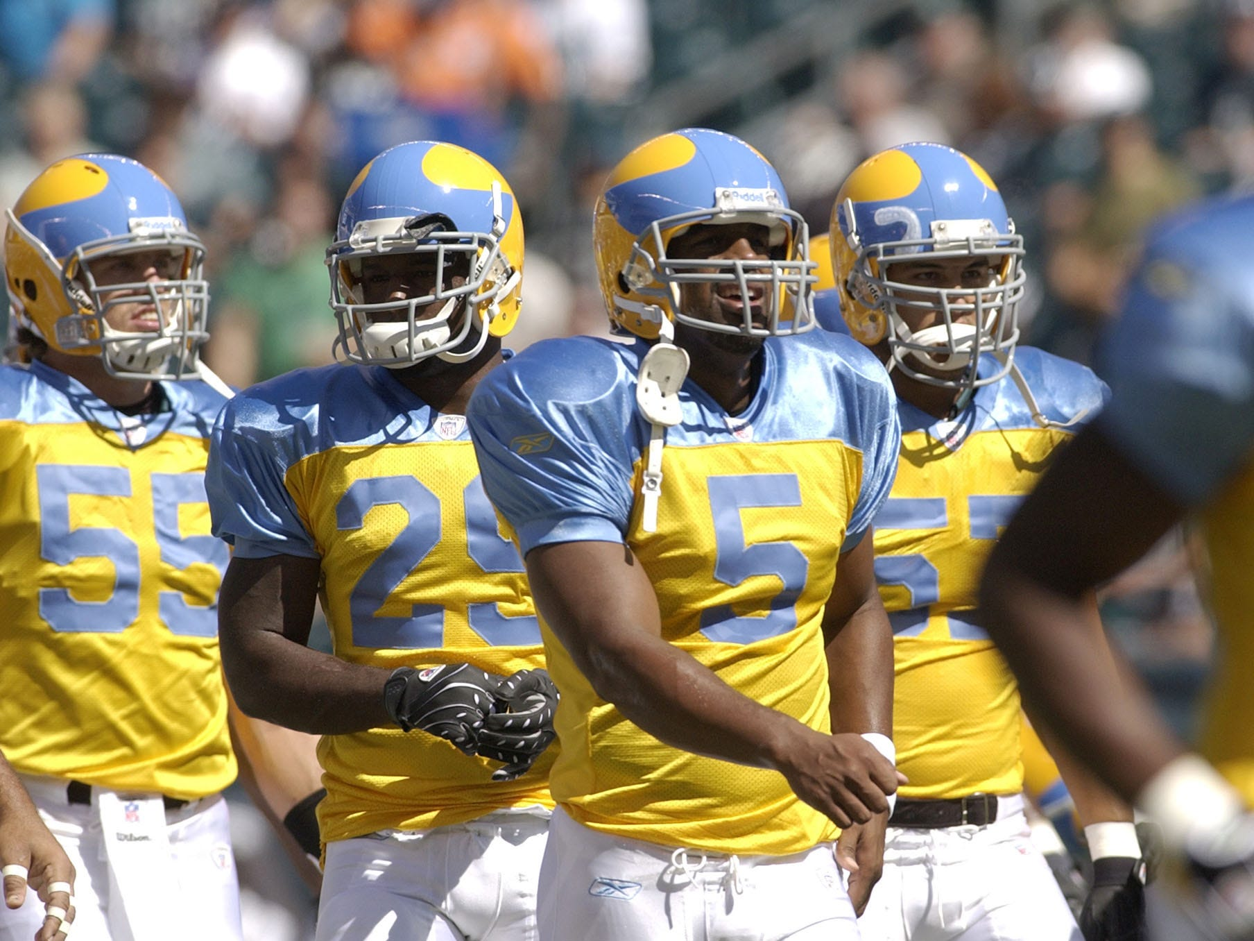 Quarterback Donovan McNabb (No. 5) and teammates were not stylin' in yellow-and-satin-blue Eagles uniforms in 2007