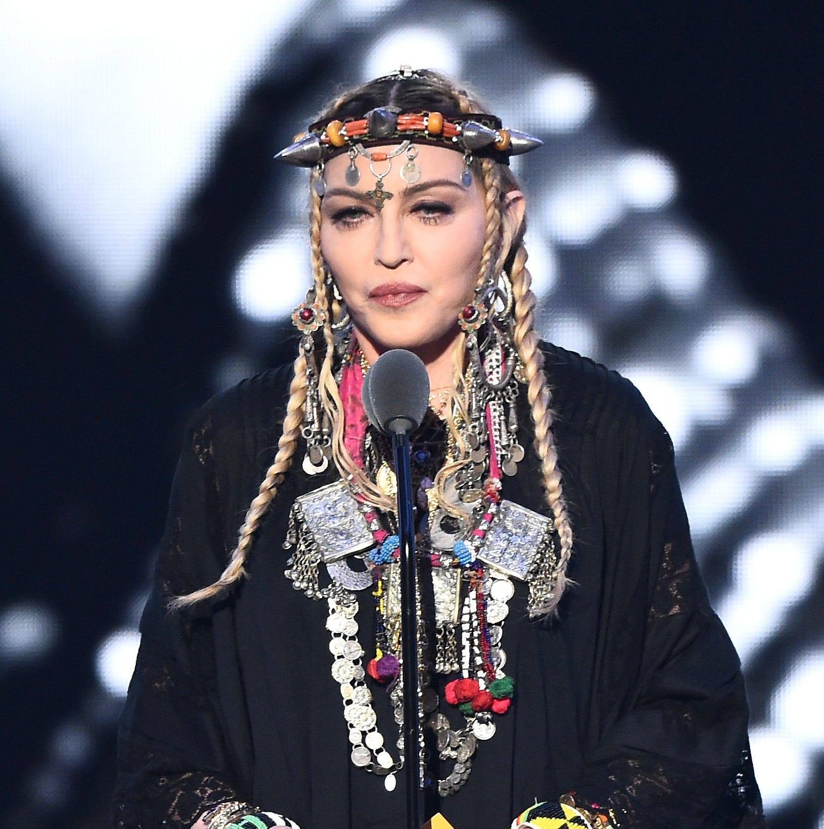 Madonna speaks onstage during the 2018 MTV Video Music Awards at Radio City Music Hall on August 20, 2018 in New York.