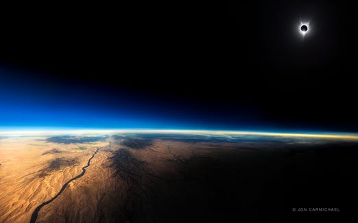 This image of the 2017 eclipse in the USA was created by shots photographer Jon Carmichael took while flying at 39,000 feet on a Southwest flight from Portland, Oregon, to St. Louis.