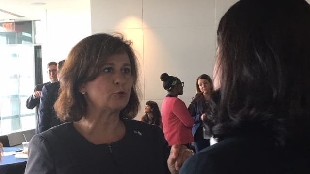 Nellie Gorbea, co-chair of the National Association of Secretaries of State's Election Committee and Rhode Island's secretary of state, spoke at an election summit in Washington, D.C. last month.