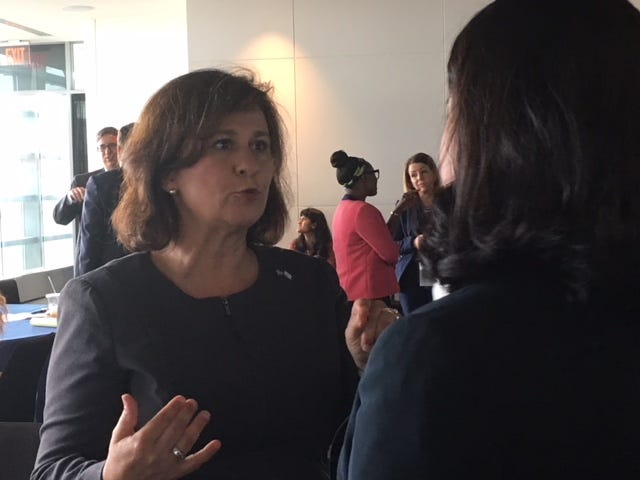 Nellie Gorbea, co-chair of the National Association of Secretaries of State's Election Committee and Rhode Island's secretary of state, spoke at an election summit in Washington, D.C., in July.