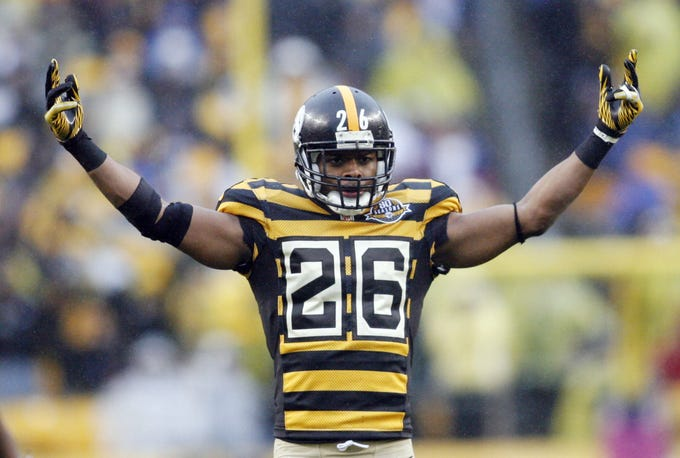 Steelers strong safety Will Allen basks in the glory of the team's bubble bee look in 2012.