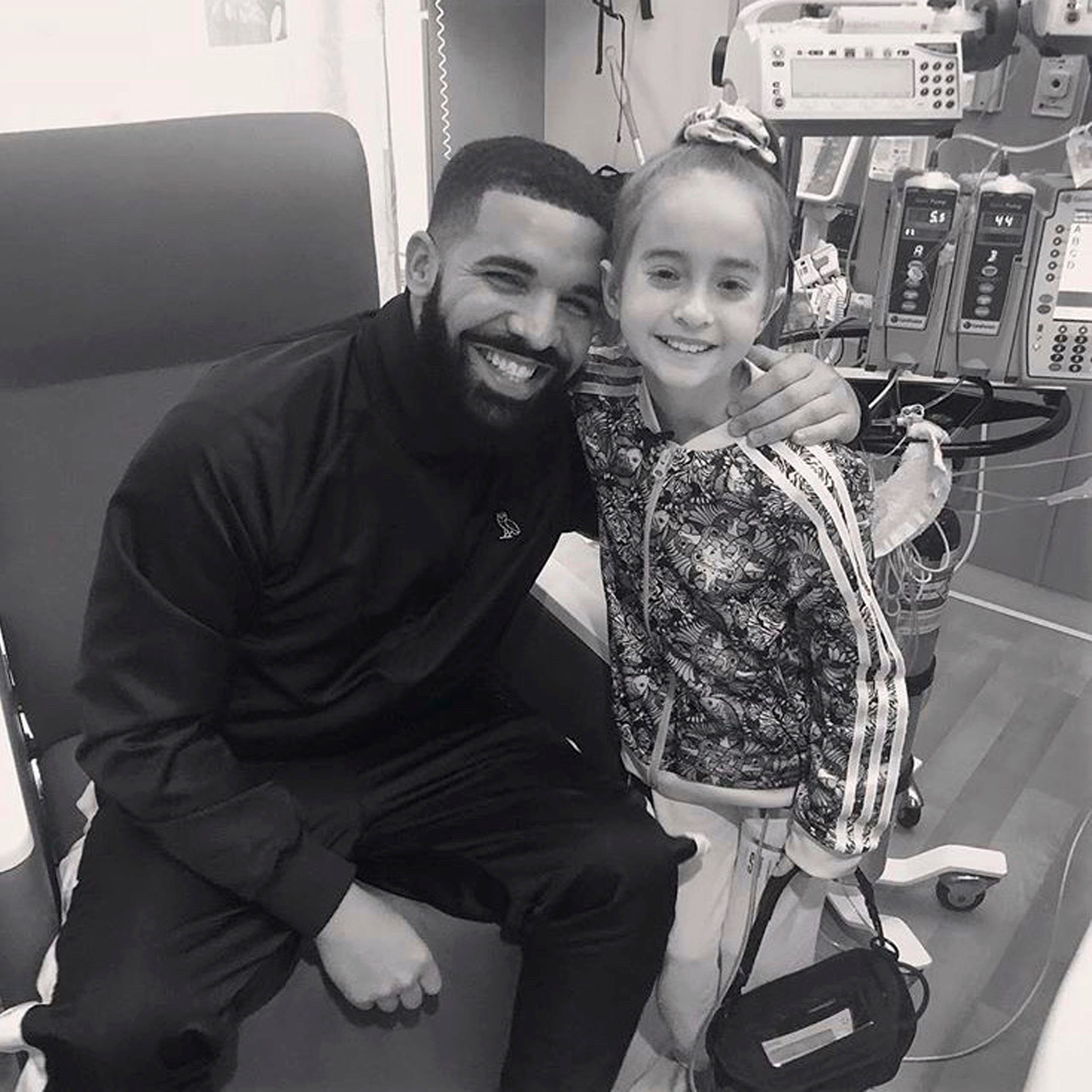 Girl surprised by Drake in hospital is 'back to her old self' after heart transplant