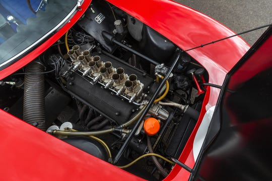 The heart of the Ferrari GTO is a masterpiece of a 300-hp, 12-cylinder engine that rests inside the aluminum bodywork of this 1962 classic.