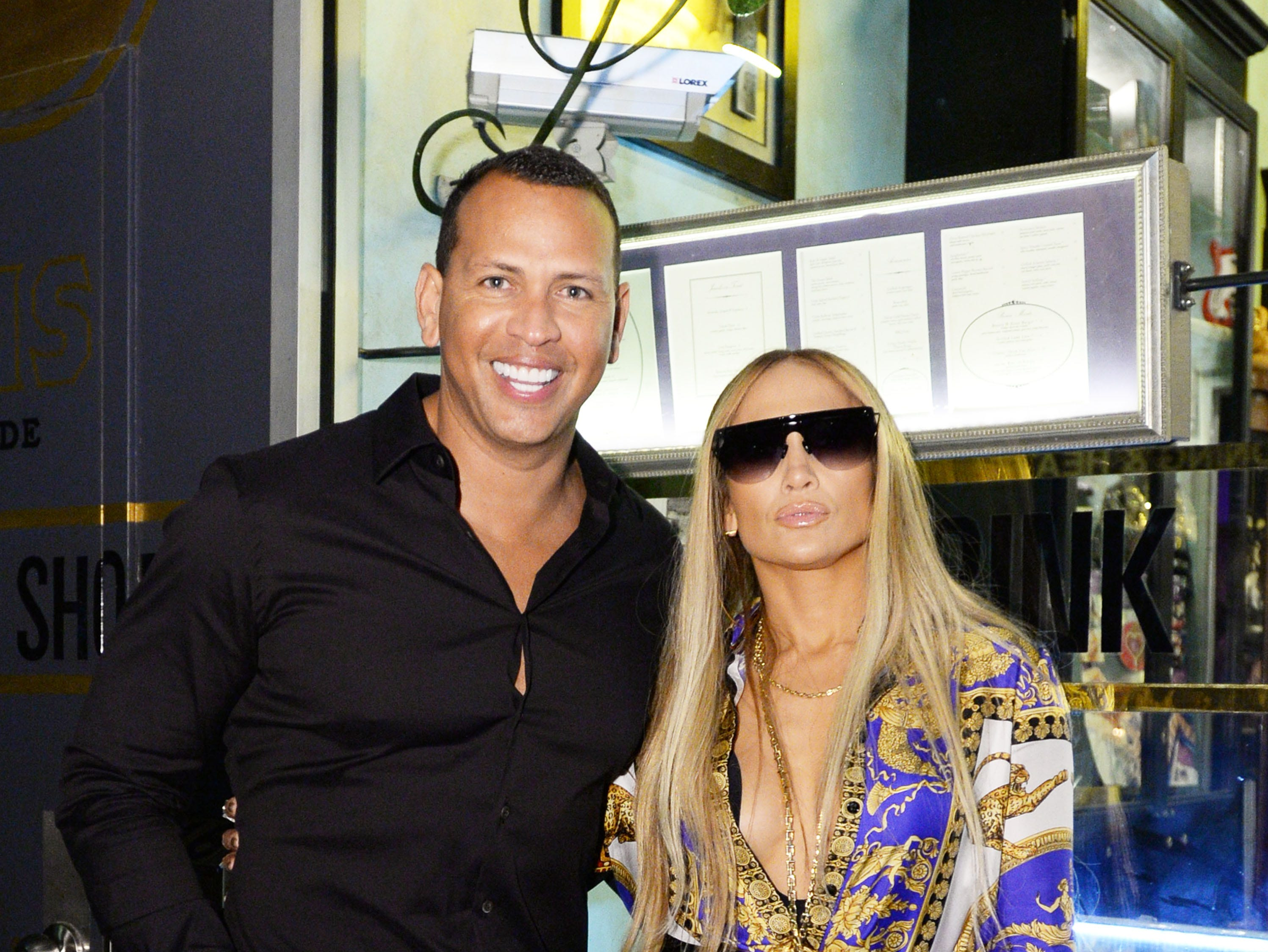 Alex Rodriguez and Jennifer Lopez attended Jennifer Lopez's MTV VMA's Vanguard Award Celebration on August 21, 2018 in New York, with Lopez rocking Versace.