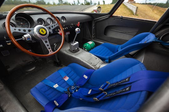The interior of this 1962 Ferrari GTO is all racing business, with no sound proofing or carpeting, just all the technical tools needed for winning.