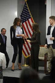 First lady Melania Trump at the anti-cyber-bullying Federal Partners in Bullying Prevention summit on Aug. 20, 2018 in Rockville, Md.