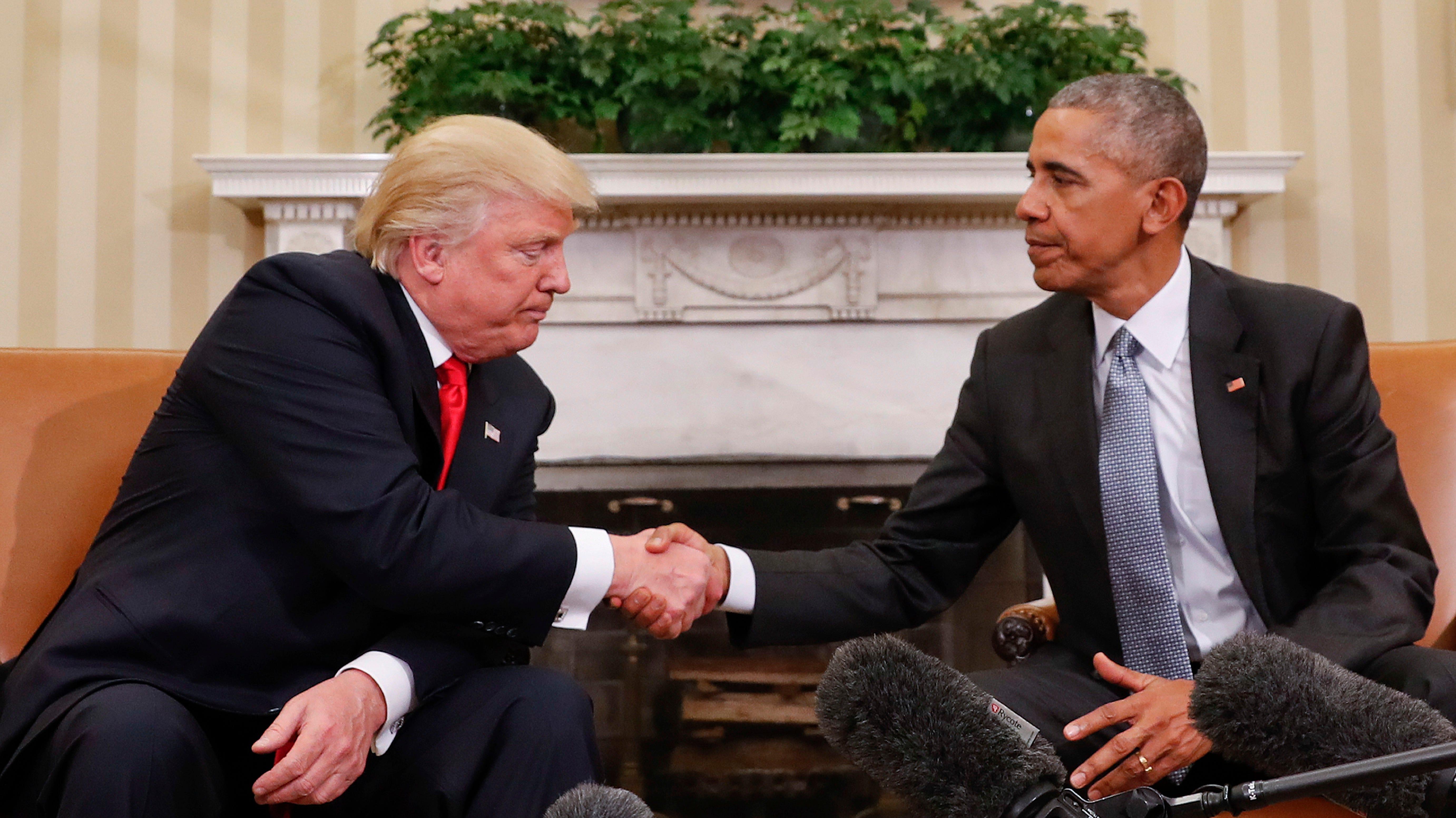 Presidents Donald Trump and Barack Obama in November of 2016.
