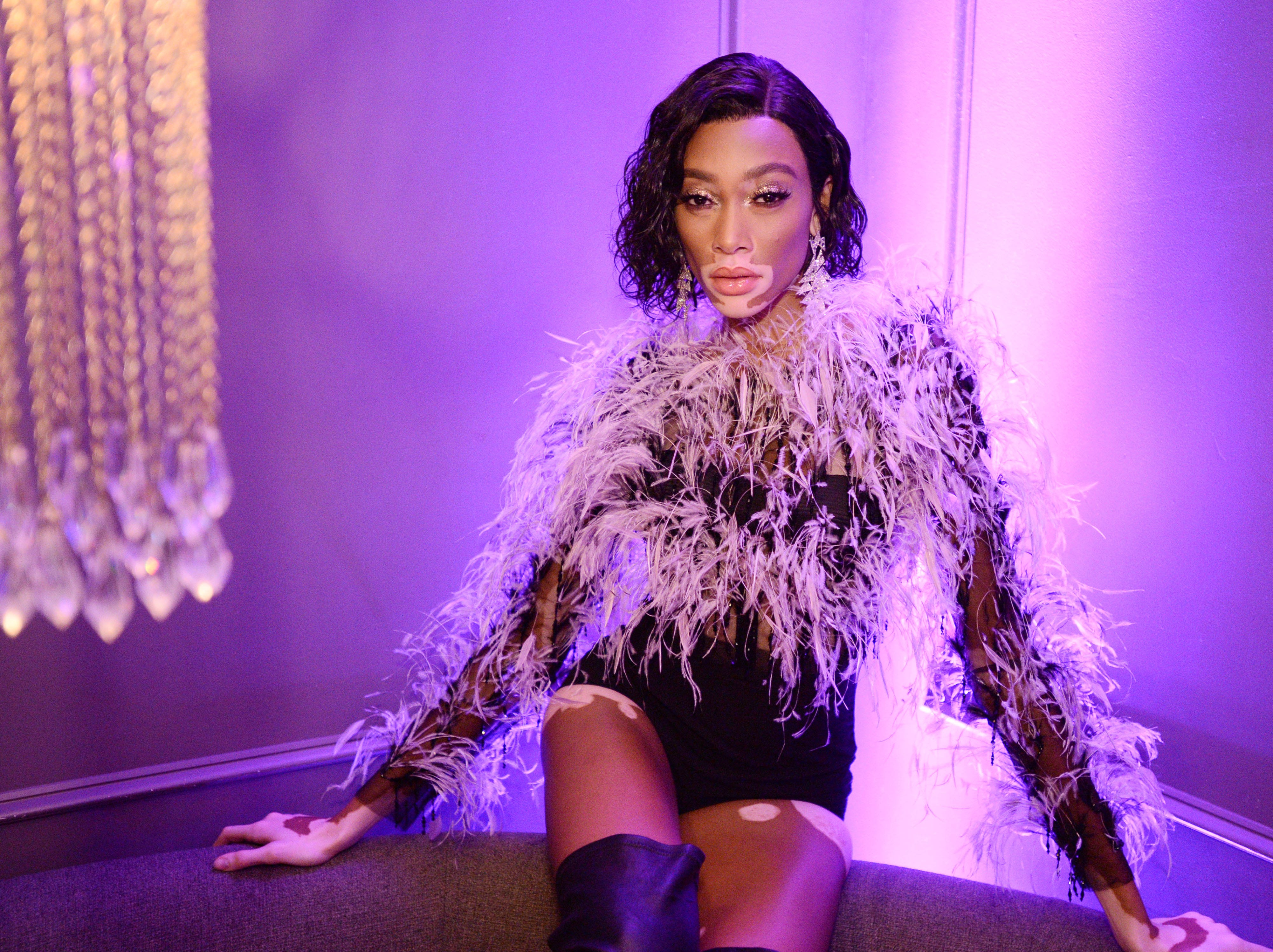 Winnie Harlow wowed in a feathery ensemble.